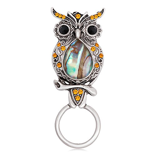 CHUANGYUN Ancient Silver Owl with Abalone Shellfish Magnetic Brooch Eyeglasses Holder Charm Jewelry (Yellow Rhinestone)