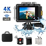 CrazyFire EIS Action Camera 4K 16.0MP HD Waterproof DV Camcorder-170 Degree Wide Angel Wifi and 2.4G Sport Camera with Dual Mic and Travel Bag Include Mounting Accessories Kit