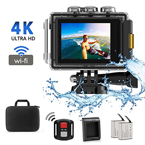 Action Camera,CrazyFire 4K WiFi 16MP Sport Cam,Underwater 30M Diving Camcorder Waterproof Camera with 170° Wide Angle,2.0 Inch LCD Screen,Portable Case,Remote Controller and 2 Batteries H-Zone Technology Co.,Ltd