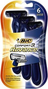 BIC Lâmina descartável masculina Comfort 3 Advanced, lâmina tripla, pacote com 6 lâminas, para um barbear simp