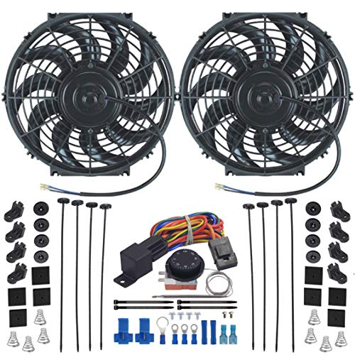 American Volt Dual Reversible 12V Electric Engine Radiator Cooling Fan & Adjustable Thermostat Switch Kit (11