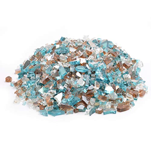 Skyflame 10-Pound Blended Fire Glass for Fire Pit Fireplace Landscaping, 1/4 Inch Caribbean Blue, Platinum, Copper, Reflective ()