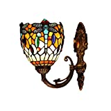 FUMAT Tiffany LED Wall Lamp Dragonfly Stained Glass Wall Sconces Lighting Fixtures E26 Wall Light