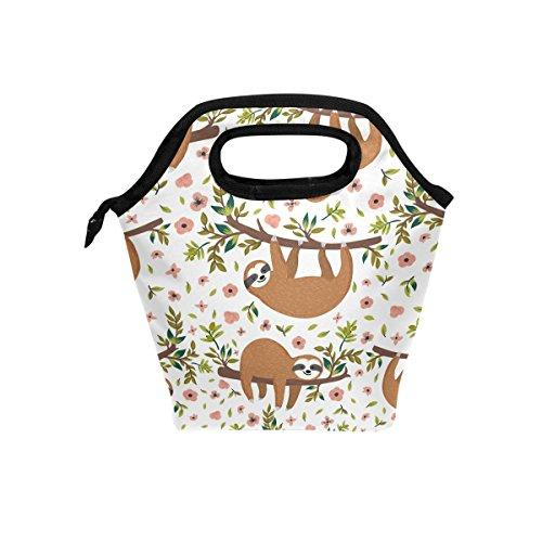ALAZA Hand Drawn Baby Sloth With Flowers Branch Animal Waterproof Reusable Durable Insulated Lunch Boxes for Women Teen Girls Lunch Bag Box Tote for School Work Office Picnic Travel Mom Bag by ALAZA