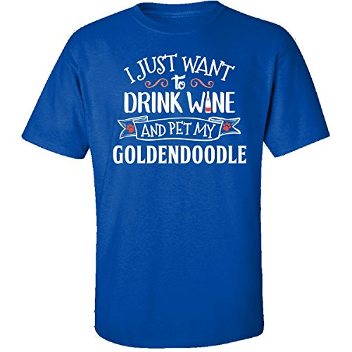 Personalized Pet T-shirt - My Family Tee Drink Wine and Pet My Goldendoodle Dog Owner Lover Gift - Adult Shirt L Royal