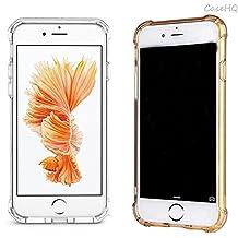[2 Pack] iPhone 7 Case CaseHQ Premium TPU Ultra Slim Fit Anti-scratch Thin Cute Lovely Shockproof Bumper Shock Absorbing Cover Extreme Lightweight Gel TPU Rubber Skin(Clear+Golden iPhone 7 Case)