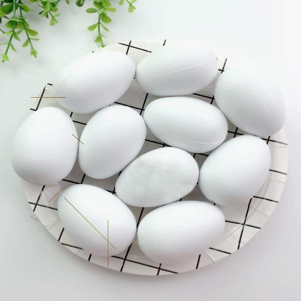 Oeufs de P/âques Decoration Peinture de Bricolage de Paques Blanc pour La D/écoration et Les Cadeaux 50x Oeufs en Plastique Suspendus avec Corde