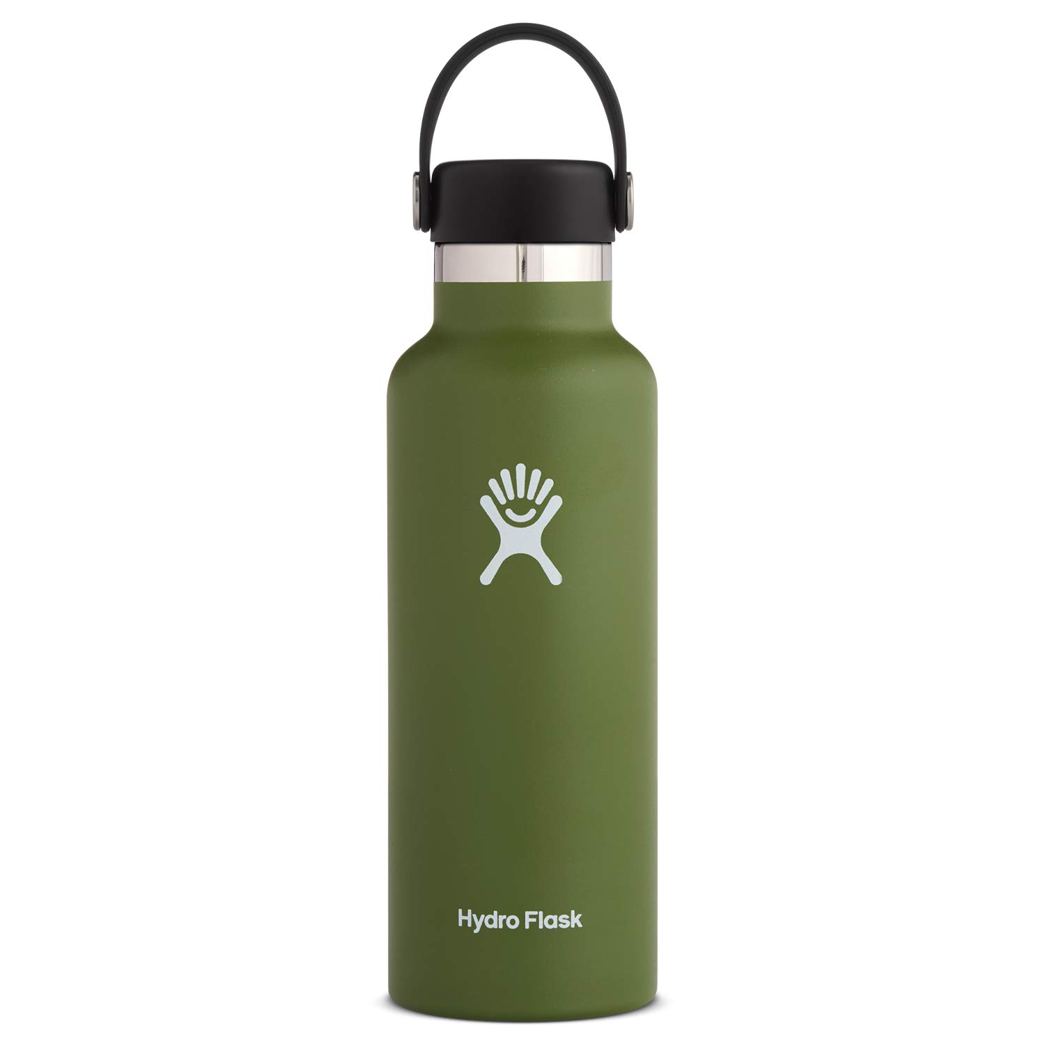 Hydro Flask Water Bottle - Stainless Steel & Vacuum Insulated - Standard Mouth with Leak Proof Flex Cap - 18 oz, Olive by Hydro Flask