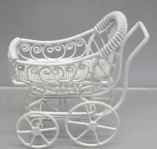 Victorian Miniature Dollhouse White Wire - Dollhouse Miniature Ornate Victorian White Wire Baby Buggy