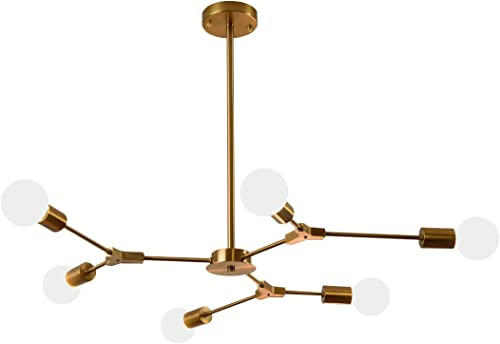 Garwarm Sputnik Chandelier Modern 6 Lights Brushed Brass Pendant Lighting Gold Mid Century Ceiling Light Fixture