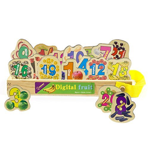 Timy 23 Wooden Magnets Magnetic Mathematics Number and Food Set in a Box