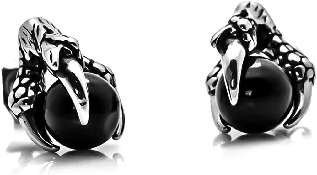 Fusamk Punk Rock Stainless Steel Dragon Claw Crystal Ball Stud Earrings,2pcs