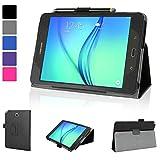 Evecase Samsung Galaxy Tab A 8.0 Case, SlimBook Leather Folio Stand Case Cover w/ Auto Sleep/Wake Feature - Black for Samsung Galaxy Tab A 8.0 8'' Tablet Wi-Fi / 4G LTE Version