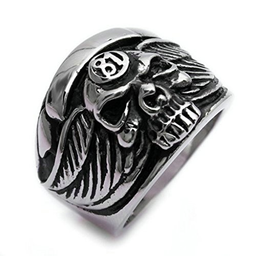 Bishilin Stainless Steel Vintage Silver Black Feather Wing Men Skull Rings Size (Mens Skull Wings)