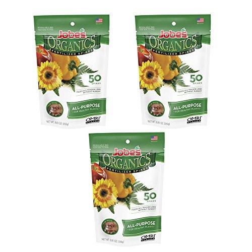 Jobe's Organics All Purpose Fertilizer Spikes, 4-4-4 Organic Time Release Fertilizer for All Plants, 50 Spikes per Package - (3 ()
