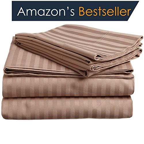 "Superior Hotel Luxury 6-Piece Sheet Set ( 1 Fitted, 1 Flat, 4 Pillow ) Authentic Heavy 1200-TC Egyptian Cotton Fits 15"" to 18"