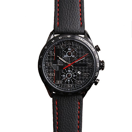 Men's Fashion Business Quartz Watch with Black Leather Band - Waterproof 30M - Elegance Chronograph