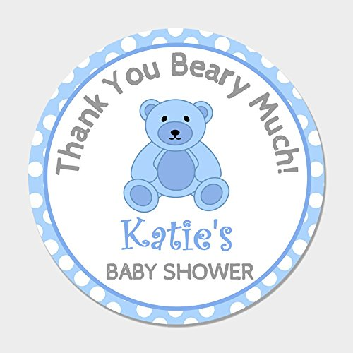 40 Personalized Blue Teddy Bear Baby Shower Favor Stickers - Baby Shower Shower Favor Tags - Customized Shower Favor Labels