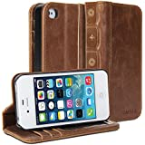 iPhone 4S Case, GMYLE Book Case Vintage for iPhone 4 4S - Brown Classic [Crazy Horse Pattern] [PU Leather] Book style Flip Folio Case Cover