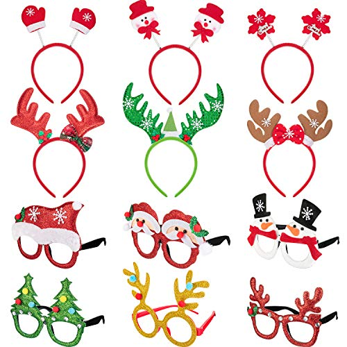 Knot Dinner (Boao 12 Pieces Christmas Headbands and Glasses Frame for Christmas and Holiday Party Fancy Hair Band Hats Photo Booth Props)