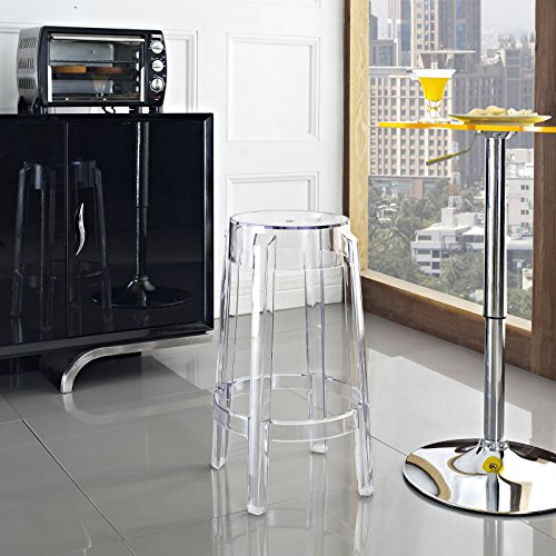 Modway Casper Modern Acrylic Counter Bar Stool in Clear - Fully Assembled