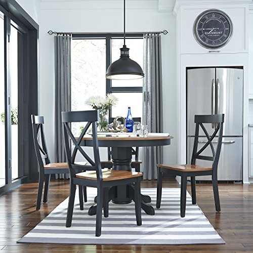 Cottage Black Oak 5 Piece 42 Round Dining Set with 4 Chairs by Home Styles