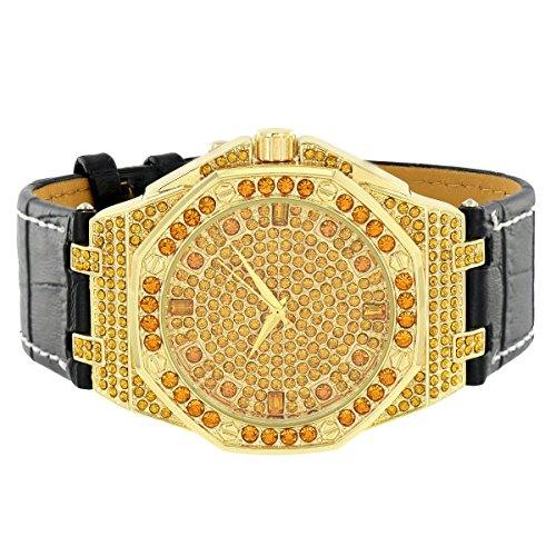 Gold Finish Mens Watch Octagon Face Canary Simulated Diamond Leather Strap Jojo