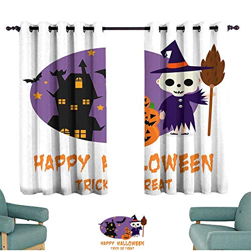 Warm Family Curtain for Kids Halloween Background with Lovely Costumes Suitable for Bedroom Living Room Study, etc. ()