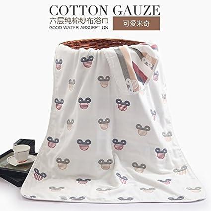 KK&MM 6 capas de Gasa de baño de algodón toalla de baño para adultos suave humedad