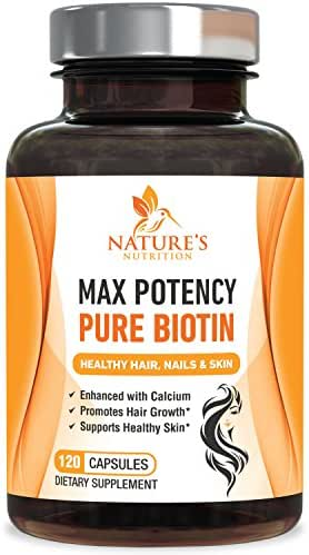 Biotin (High Potency) for Hair Growth 10000 mcg Per Veggie Capsule - Enhanced with Calcium for Best Health for Best Hair Growth, Glowing Skin & Strong Nails. Non-GMO, Made in USA - 120 Capsules