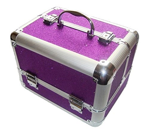 Sparkly Purple Aluminium Beauty Make up Vanity Case Box Nail hair Box cases