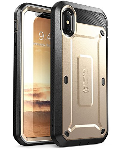 iPhone X Case, SUPCASE iPhone 10 Full-Body Rugged Holster Case with Built-in Screen Protector for Apple iPhone X/iPhone 10 (2017 Release), Unicorn Beetle PRO Series - Retail Package (Gold)