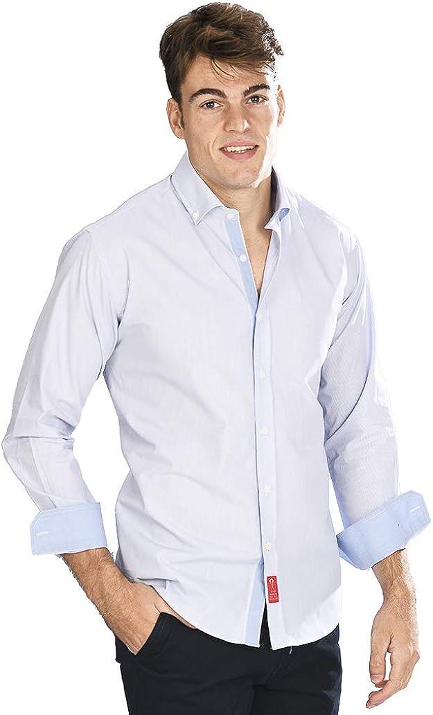 Camisa Manga Larga semientallada con Rayas Finas en Color Azul ...