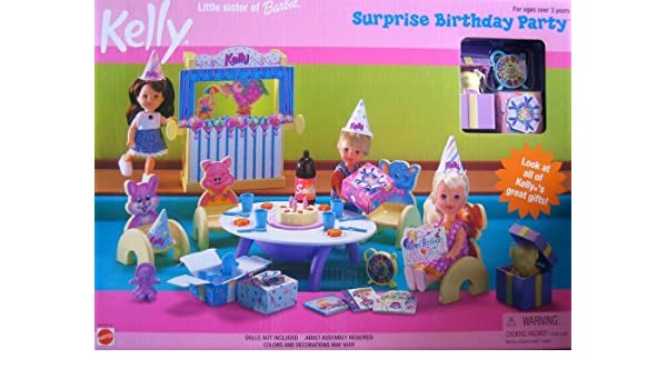 Amazon.es: Barbie Kelly Surprise Birthday Party Playset ...