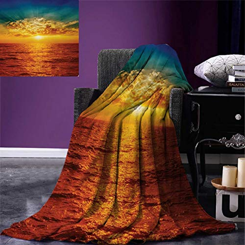 Anniutwo Ocean Warm Microfiber All Season Blanket Sunset Clouds Exotic Seaside Sun Rays Magical Evening View Picture Print Art Print Image Blanket 62