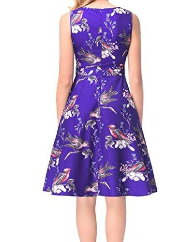 Coolred-femmes Rétro Floral Hepburn Partie Robe De Soirée Club Robe Sans Manches Bleu