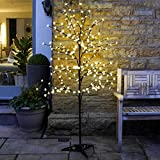 6ft Outdoor Cherry Blossom Tree - Pre Lit 240 LED Remote Controlled Lamp - Illuminated Decorative