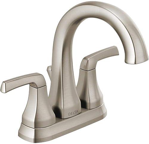 Delta 25770LF-SP Portwood 4 in. Centerset 2-Handle Bathroom Faucet in SpotShield Brushed Nickel