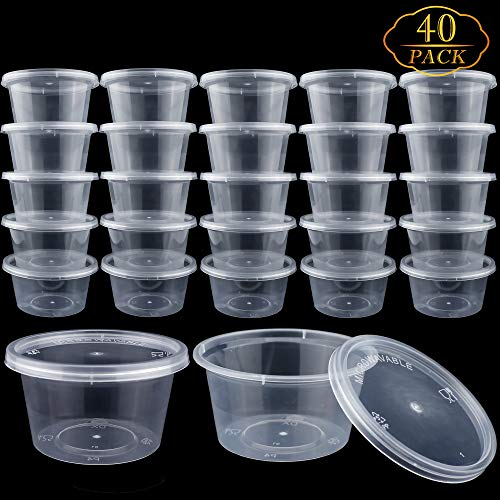 40 Pack 4oz Big Size Clear Slime Foam Ball Big Storage Containers with Lids