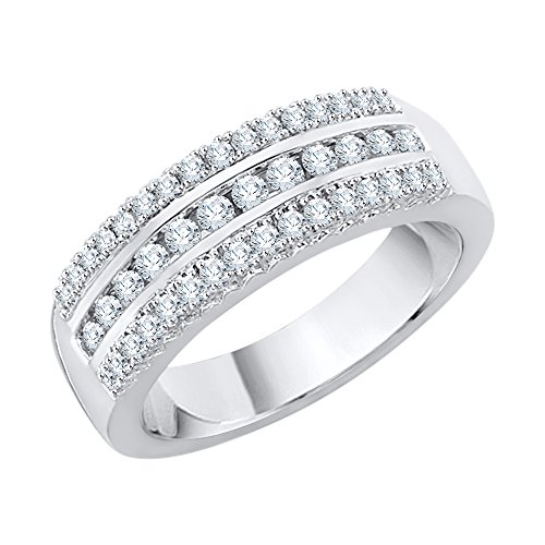 (KATARINA 3 Row Diamond Wedding Band in Sterling Silver (1/2 cttw, J-K, SI2-I1) (Size-6))