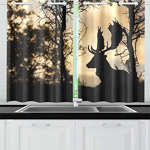 (YUMOING Deer Silhouette Kitchen Curtains Window Curtain Tiers for Café, Bath, Laundry, Living Room Bedroom 26 X 39 Inch 2 Pieces)