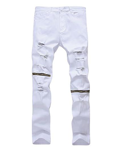 Denim Homme Jeans Pantalon Blanc Fit Déchiré À Fermeture Glissière 27 Troué Genou Au Slim Jeans rrZIx