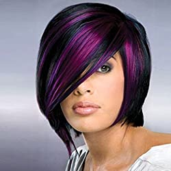 aSulis Ombre Wigs Short Bob Black Hair Wigs Purple Highlight Straight Synthetic Colorful Cosplay Daily Party Wig for Women + Free Wig Cap (Black Purple Highlight)