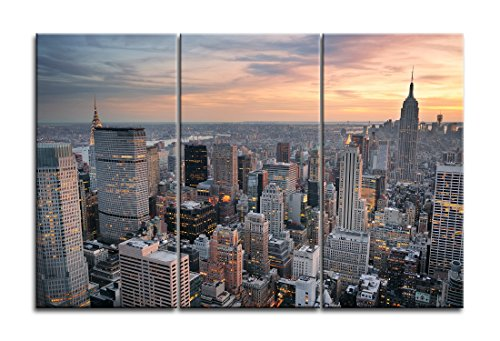 Niwo Art (TM) - New York Cityscape Picture On Canvas - Giclee Wall Art for Home Decor, Gallery Wrapped, Stretched and Framed Ready to Hang (30
