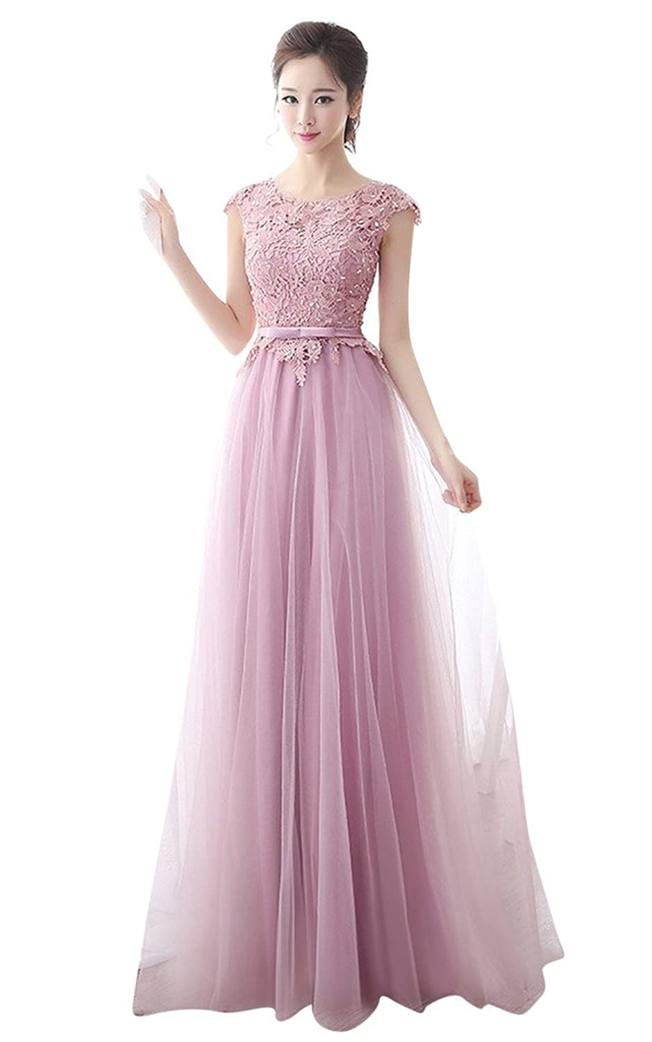 Vimans? Women's Long Pink Scoop Beaded Dresses for Bridesmaid with Appliques