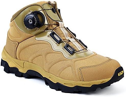 サバゲー トレッキングシューズ ダイヤル式 メンズ 撥水 登山靴 衝撃吸収 ミリタリーブーツ ミドルカット 耐磨耗 防滑 軽量 アウトドアシューズ