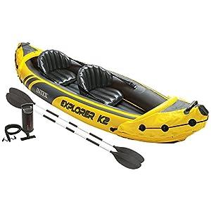 Intex Explorer K2 Kayak, 2-Individual Inflatable Kayak Set with Aluminum Oars and High Output Air Pump