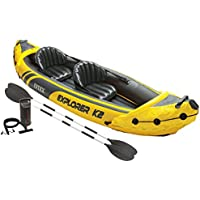 Intex Explorer K2 2-Person Inflatable Kayak Set with Aluminum Oars and High Output Air Pump (Yellow)