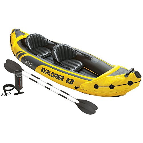Two Man Fishing Boats (Intex Explorer K2 Kayak, 2-Person Inflatable Kayak Set with Aluminum Oars and High Output Air Pump)