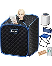 COSTWAY Portable Folding Steam Sauna Tent, Full Body Personal Home Spa for Weight Loss, 9 Adjustable Temperature Levels with Remote Control Steam Hose Foot Massage Roller Absorbent Pad (Black)